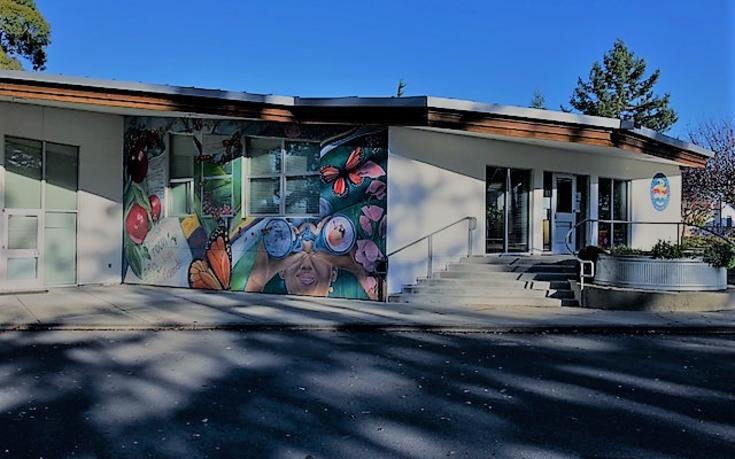 front of school looking at mural